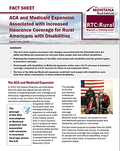 Screenshot of the first page of the ACA and Medicaid Expansion Associated with Increased Insurance Coverage for Rural Americans with Disabilities fact sheet.